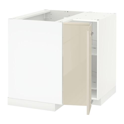 METOD - corner base cabinet with carousel, white/Voxtorp high-gloss light beige   IKEA 香港及澳門 - PE580071_S4