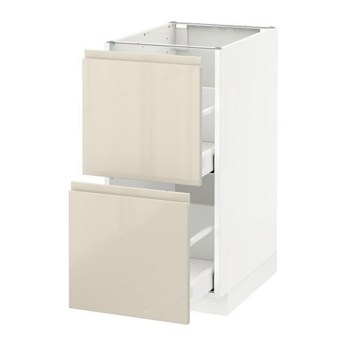 METOD - base cb 2 fronts/2 high drawers, white Maximera/Voxtorp high-gloss light beige   IKEA Hong Kong and Macau - PE580076_S4