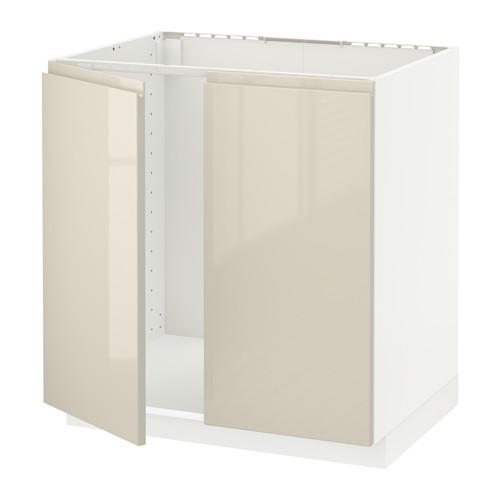 METOD - base cabinet for sink + 2 doors, white/Voxtorp high-gloss light beige | IKEA Hong Kong and Macau - PE580111_S4