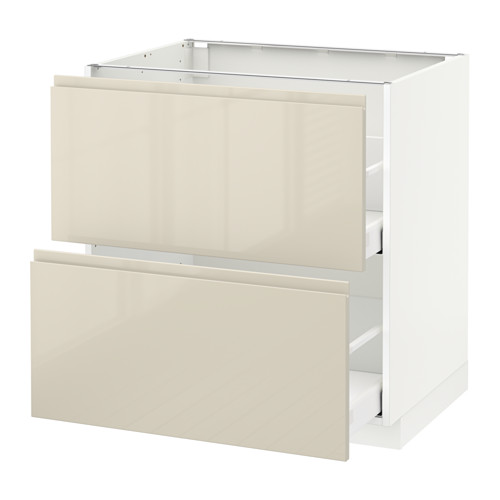 METOD - base cb 2 fronts/2 high drawers, white Maximera/Voxtorp high-gloss light beige | IKEA Hong Kong and Macau - PE580115_S4