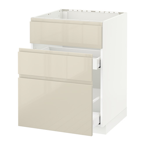METOD/MAXIMERA - base cab f sink+3 fronts/2 drawers, white/Voxtorp high-gloss light beige | IKEA Hong Kong and Macau - PE580116_S4