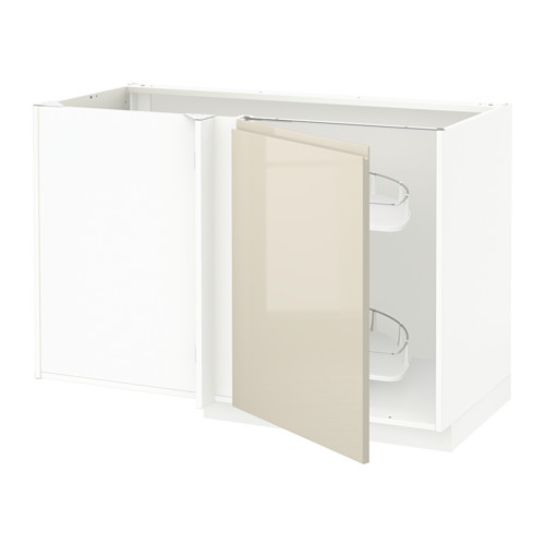 METOD - corner base cab w pull-out fitting, white/Voxtorp high-gloss light beige | IKEA Hong Kong and Macau - PE580150_S4