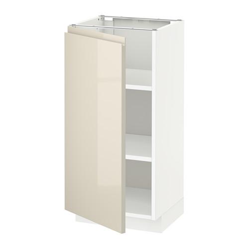 METOD - base cabinet with shelves, white/Voxtorp high-gloss light beige | IKEA Hong Kong and Macau - PE580168_S4