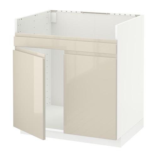 METOD - base cab f HAVSEN double bowl sink, white/Voxtorp high-gloss light beige | IKEA Hong Kong and Macau - PE580176_S4