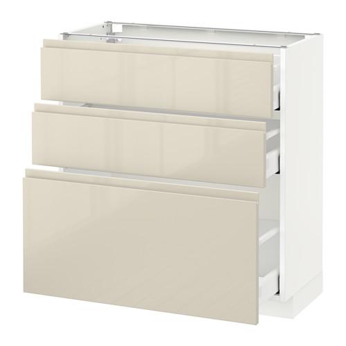 METOD - 3層抽屜地櫃, 白色 Maximera/Voxtorp 光面淺米色 | IKEA 香港及澳門 - PE580251_S4