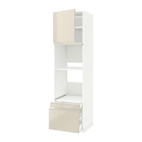 METOD/MAXIMERA - hi cab f ov/combi ov w dr/2 drwrs, white/Voxtorp high-gloss light beige | IKEA Hong Kong and Macau - PE580319_S4