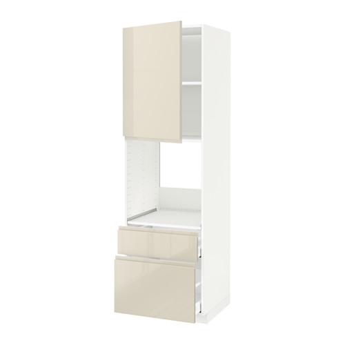 METOD/MAXIMERA - high cabinet f oven+door/2 drawers, white/Voxtorp high-gloss light beige   IKEA Hong Kong and Macau - PE580383_S4