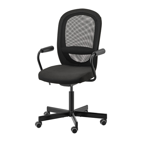 FLINTAN/NOMINELL - office chair with armrests, black | IKEA Hong Kong and Macau - PE734561_S4