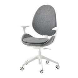 HATTEFJÄLL - office chair with armrests, Gunnared medium grey/white | IKEA Hong Kong and Macau - PE734555_S3