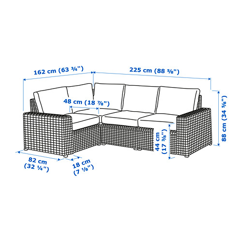 SOLLERÖN - modular corner sofa 3-seat, outdoor, dark grey/Frösön/Duvholmen dark grey | IKEA Hong Kong and Macau - PE734776_S4