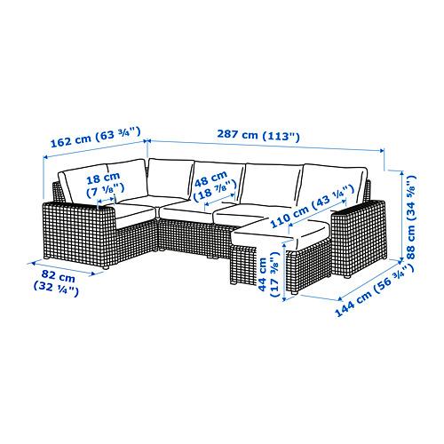 SOLLERÖN - modular corner sofa 4-seat, outdoor, with footstool brown/Frösön/Duvholmen beige | IKEA Hong Kong and Macau - PE734777_S4