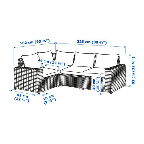 SOLLERÖN 戶外三座位角位組合式梳化