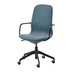 LÅNGFJÄLL - office chair with armrests, Gunnared blue/black | IKEA Hong Kong and Macau - PE734885_S3