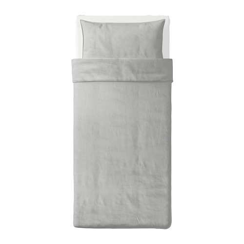 BERGPALM - quilt cover and pillowcase, grey/stripe, 150x200/50x80 cm  | IKEA Hong Kong and Macau - PE692806_S4
