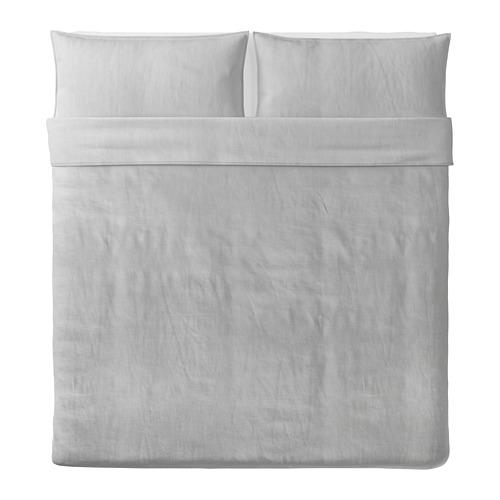 BERGPALM - 被套連2個枕袋, 灰色/條紋, 240x220/50x80 cm    IKEA 香港及澳門 - PE692808_S4