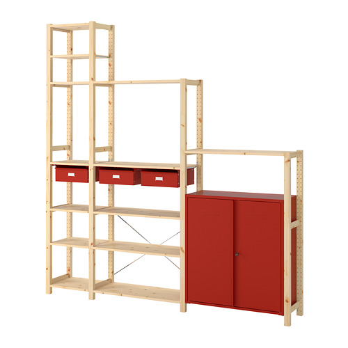 IVAR shelving unit w cabinets/drawers