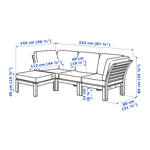 ÄPPLARÖ - 3-seat modular sofa, outdoor, with footstool brown stained/Frösön/Duvholmen beige | IKEA Hong Kong and Macau - PE735009_S4