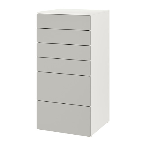 PLATSA/SMÅSTAD chest of 6 drawers, white/grey