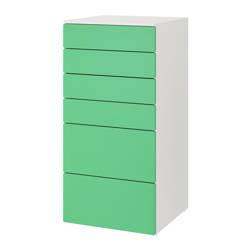 PLATSA/SMÅSTAD - chest of 6 drawers, white/green | IKEA Hong Kong and Macau - PE788854_S4