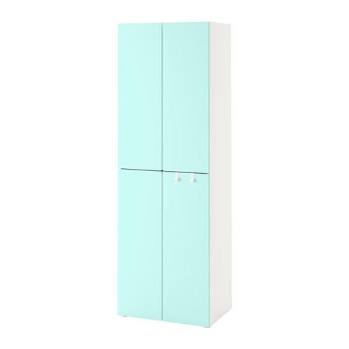 PLATSA/SMÅSTAD - 衣櫃, white pale turquoise/with 2 clothes rails   IKEA 香港及澳門 - PE788858_S4