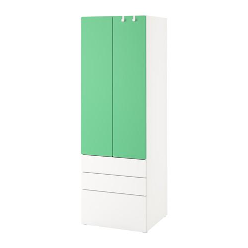 PLATSA/SMÅSTAD - wardrobe, white green/with 3 drawers | IKEA Hong Kong and Macau - PE788886_S4