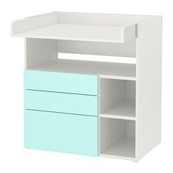 SMÅSTAD - 更換尿布檯, white pale turquoise/with 3 drawers | IKEA 香港及澳門 - PE788938_S3