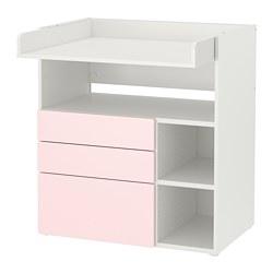 SMÅSTAD - 更換尿布檯, white pale pink/with 3 drawers | IKEA 香港及澳門 - PE788939_S3