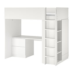 SMÅSTAD - 高架床架連書檯及抽屜櫃門組合, 白色/白色 | IKEA 香港及澳門 - PE789024_S3