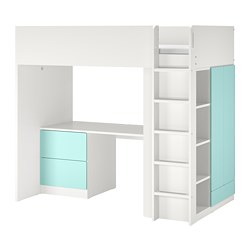 SMÅSTAD - loft bed, white pale turquoise/with desk with 3 drawers | IKEA Hong Kong and Macau - PE789028_S3