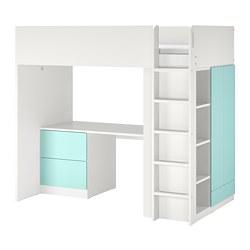 SMÅSTAD - 高架床架連書檯及抽屜櫃門組合, 白色/淺藍色 | IKEA 香港及澳門 - PE789028_S3