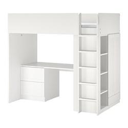 SMÅSTAD - 高架床架連書檯及抽屜櫃門組合, 白色 | IKEA 香港及澳門 - PE789038_S3