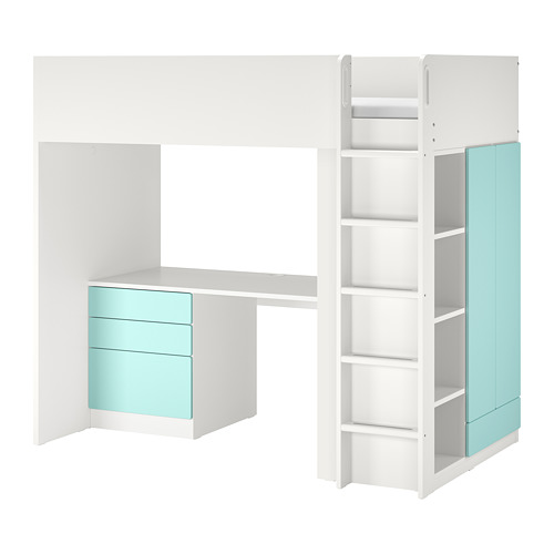SMÅSTAD - loft bed, white pale turquoise/with desk with 4 drawers | IKEA Hong Kong and Macau - PE789043_S4
