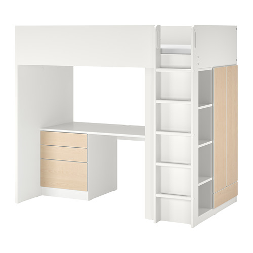 SMÅSTAD - loft bed, white birch/with desk with 4 drawers | IKEA Hong Kong and Macau - PE789051_S4