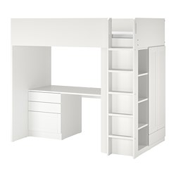 SMÅSTAD - loft bed, white with frame/with desk with 4 drawers | IKEA Hong Kong and Macau - PE789053_S3