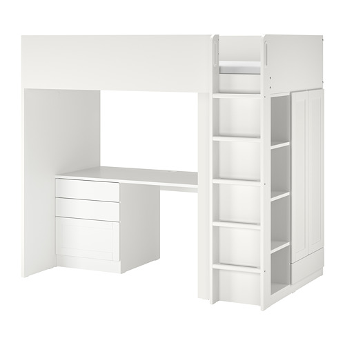 SMÅSTAD - 高架床架連書檯及抽屜櫃門組合, 白色 | IKEA 香港及澳門 - PE789053_S4