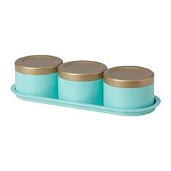 SOLGLIMTAR - 罐,3件套裝, 金色/湖水綠色 | IKEA 香港及澳門 - PE789056_S3