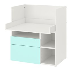 SMÅSTAD - 書檯, white pale turquoise/with 2 drawers | IKEA 香港及澳門 - PE789066_S3