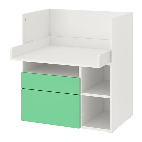 SMÅSTAD - 書檯, 白色 綠色/附2個抽屜   IKEA 香港及澳門 - PE789069_S4