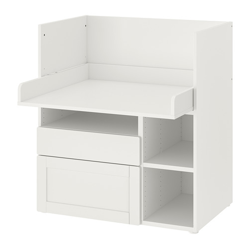 SMÅSTAD - 書檯, white with frame/with 2 drawers   IKEA 香港及澳門 - PE789071_S4