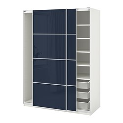 PAX - wardrobe, white Hokksund/high-gloss black-blue | IKEA Hong Kong and Macau - PE702158_S3
