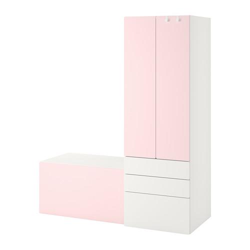 PLATSA/SMÅSTAD - storage combination, white pale pink/with bench | IKEA Hong Kong and Macau - PE789094_S4