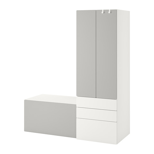 PLATSA/SMÅSTAD - storage combination, white grey/with bench | IKEA Hong Kong and Macau - PE789097_S4
