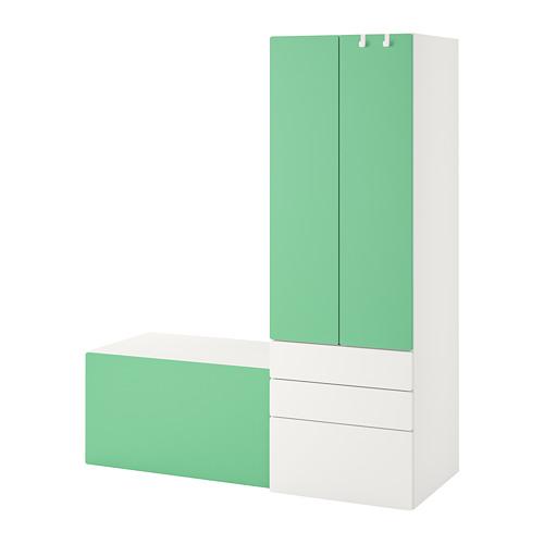 PLATSA/SMÅSTAD - storage combination, white green/with bench   IKEA Hong Kong and Macau - PE789100_S4