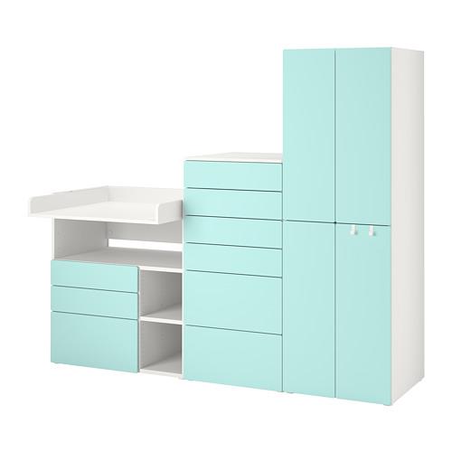 PLATSA/SMÅSTAD - 貯物組合, white pale turquoise/with changing table | IKEA 香港及澳門 - PE789125_S4