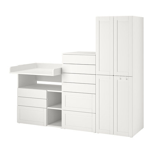 PLATSA/SMÅSTAD - 貯物組合, white with frame/with changing table   IKEA 香港及澳門 - PE789133_S4