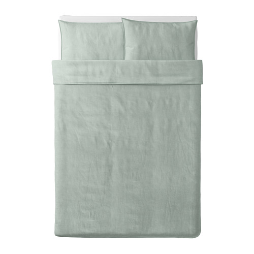 BERGPALM - quilt cover and 2 pillowcases, green/stripe, 200x200/50x80 cm  | IKEA Hong Kong and Macau - PE692801_S4