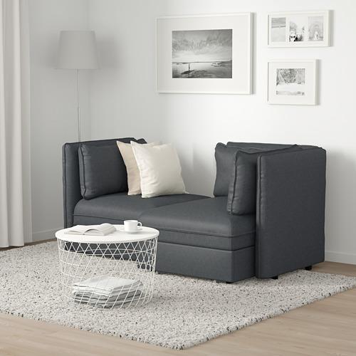 VALLENTUNA - 2-seat modular sofa with sofa-bed, and storage/Hillared dark grey | IKEA Hong Kong and Macau - PE691215_S4