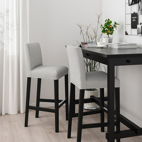BERGMUND - 高腳凳連靠背, 黑色/Orrsta 淺灰色   IKEA 香港及澳門 - PE789267_S4