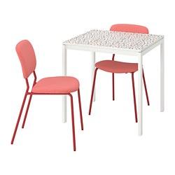 MELLTORP/KARLJAN - 一檯兩椅, 馬賽克圖案白色/Kabusa紅色   IKEA 香港及澳門 - PE789460_S3