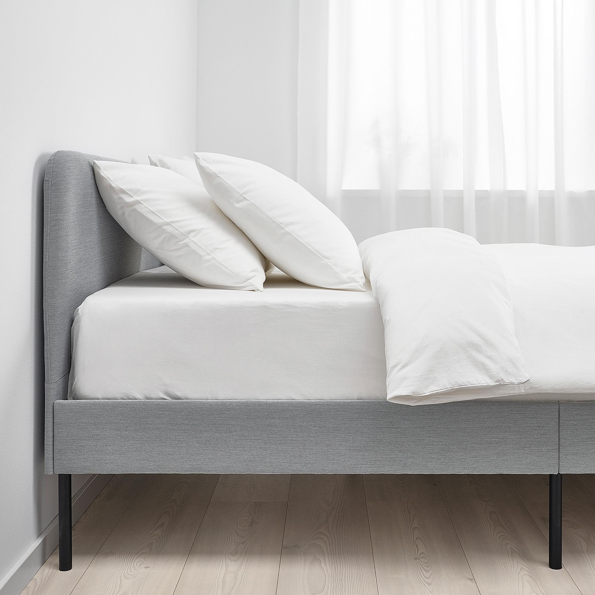 Slattum Upholstered Bed Frame Double Knisa Light Grey Ikea Hong Kong And Macau